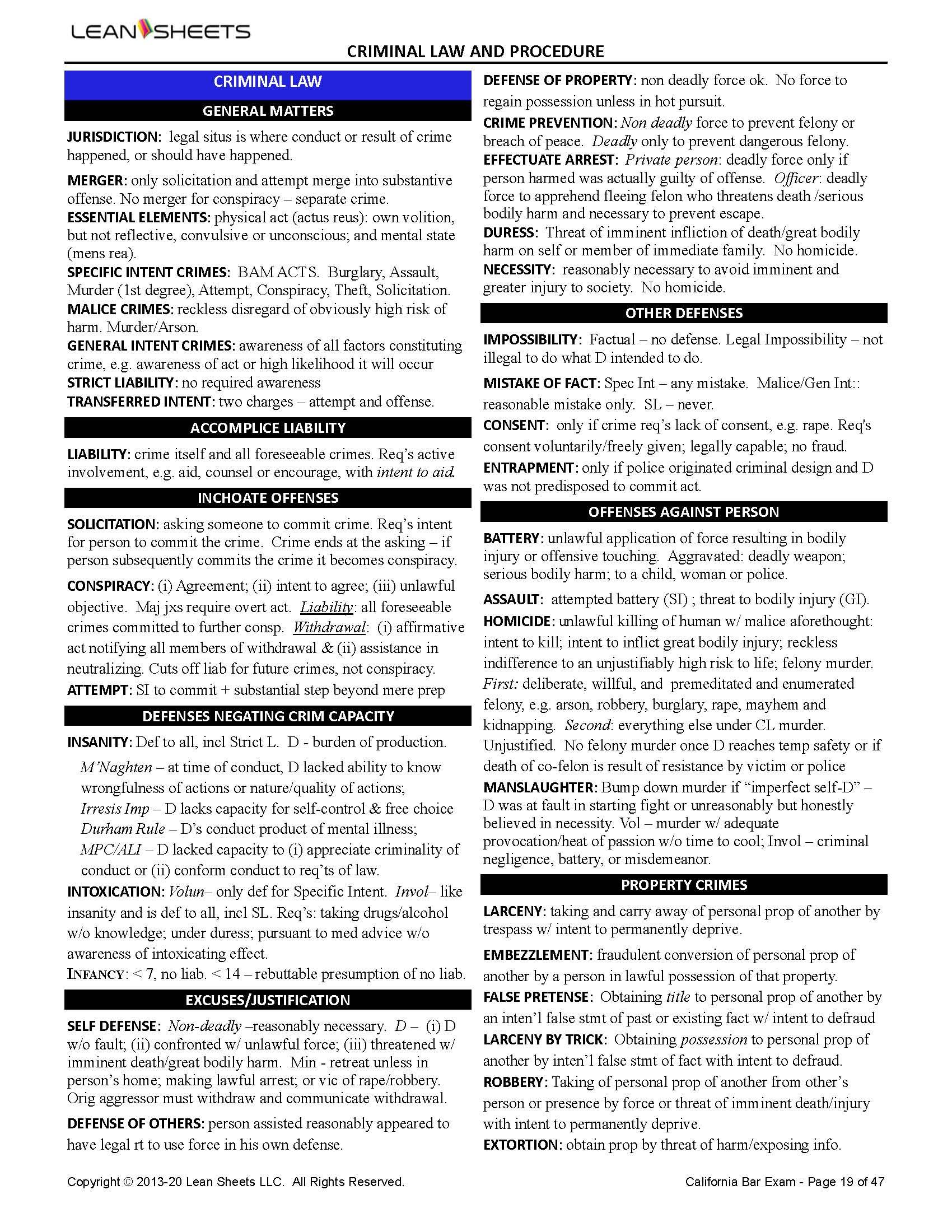 CA Criminal Law Outline